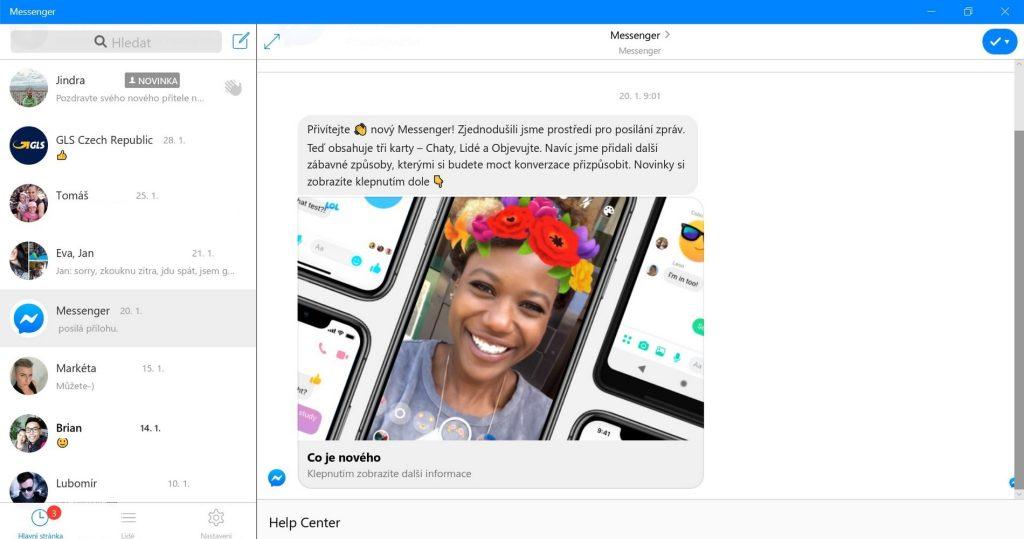 Aplikace Messenger pro Windows